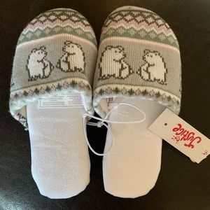 NWT justice polar bear slippers girls size 12/1